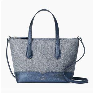Kate Spade Lola Glitter Satchel Crossbody Bag Navy